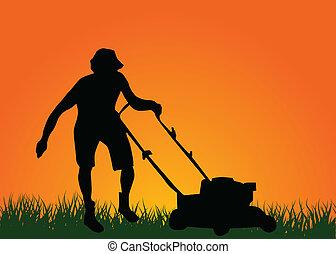 gramado, homem, mower