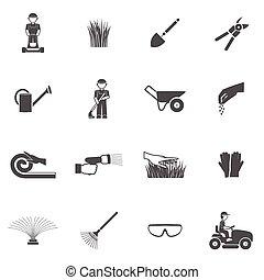 gramado, jogo, homem, ícone