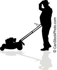 gramado, mowing homem