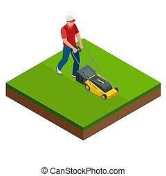 gramado, serviço, mowing, concept., isometric, amarela, mower, summertime., vetorial, ilustração, capim, homem