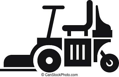 gramado, simples, estilo, ícone, mower, cadeira