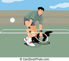 gramado, tênis, vista dianteira, tocando, homem