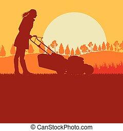 gramado, vetorial, mulher, corte, movedor, capim