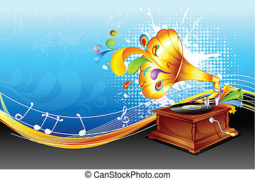 illustration of antique gramaphone on abstract floral background