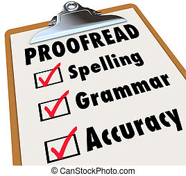 gramatyka, checklist, clipboard, ortografia, proofread,...