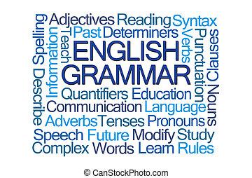grammaire, mot, nuage, anglaise