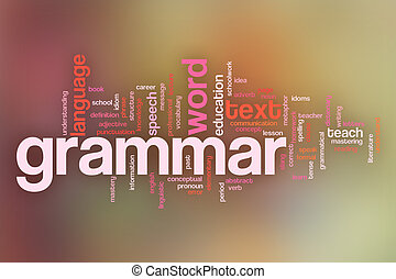 Grammar concept word cloud background on pastel blurred ...