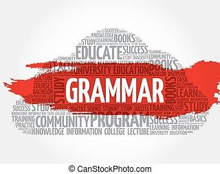 Grammar word cloud, education concept