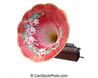 grammofon, antikvitet, utsirad, cylinder, målad
