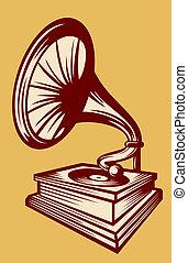 grammofono, con, corno, altoparlante