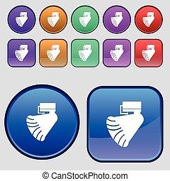 grammofono, icon., segno., uno, set, di, dodici, vendemmia, bottoni, per, tuo, design., vettore