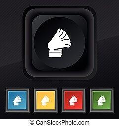 grammofono, icon., simbolo., set, di, cinque, colorito, elegante, bottoni, su, nero, struttura, per, tuo, design., vettore