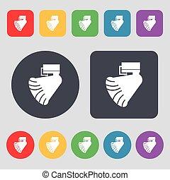 grammofono, icona, segno., uno, set, di, 12, colorato, buttons., appartamento, design., vettore