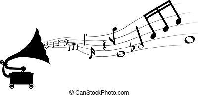 grammophon, und, melodie