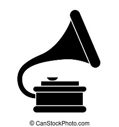 gramophone 2 icon, vector illustration, black sign on isolated background