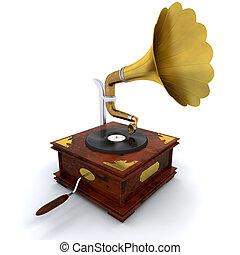 Gramophone - 3D render of a gramophone