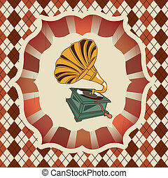 gramophone - antique gramophono over grid background vector...
