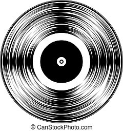 Gramophone Black Vinyl LP Record Silhouette Isolated on White Background. Vector Illustration