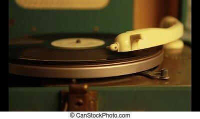 gramophone close up - old electric gramophone plays vinyl...