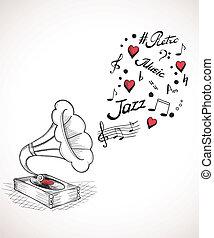 gramophone, com, um, bolha, de, música, elementos