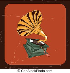 gramophone design over brick color background vector...