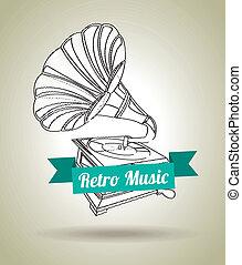 gramophone design over gray background vector illustration