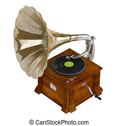 Gramophone or phonograph isolated on white background