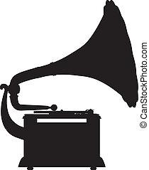 gramophone, esboço, vetorial, silhouett