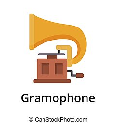 Gramophone flat vector illustration. Single object. Icon for...