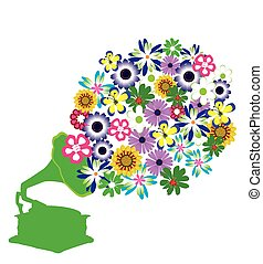 Gramophone - gramophone retro with flowers