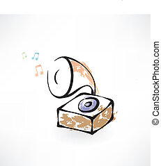 gramophone grunge icon