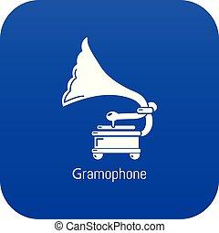 Gramophone icon blue vector