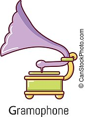 Gramophone icon, cartoon style