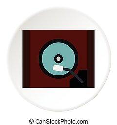 Gramophone icon, flat style