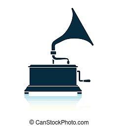 Gramophone icon. Shadow reflection design. Vector...
