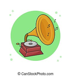 Gramophone Icon Sound Classical Music Instrument Vector Illustration