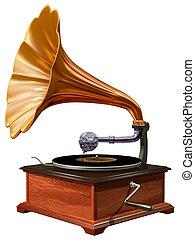 Isolated illustration of antique windup gramophone