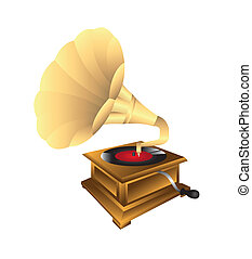 gramophone isolated over white background. vector ...