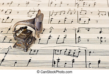 gramophone, ligado, antigas, música folha