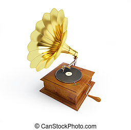 gramophone, ligado, um, fundo branco