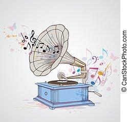gramophone, música, notas., fundo