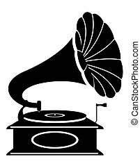 gramophone old retro vintage icon stock vector illustration