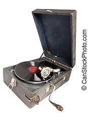 gramophone - old vintage acoustic gramopfone with black ...