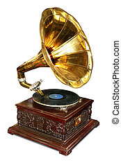 Gramophone - Old wooden gramophone with disc.