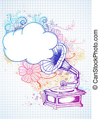 Gramophone on abstract floral background - Vintage hand...