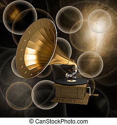 Gramophone on an old background with circle
