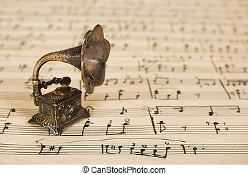 Gramophone on old sheet music