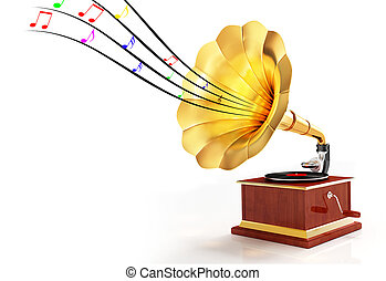 Gramophone - Digital illustration of Gramophone in white...