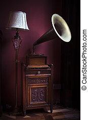 Gramophone - Vintage gramophone with large speaker on wooden...