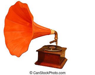 Gramophone - Old gramophone isolated over white background